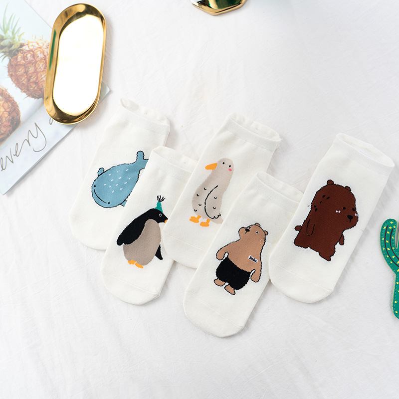 Cartoon Cute Animal Short Socks Funny Dinosaur Fox Penguin Bear Kawaii Woman's Socks Korean Style Female Cute Socks