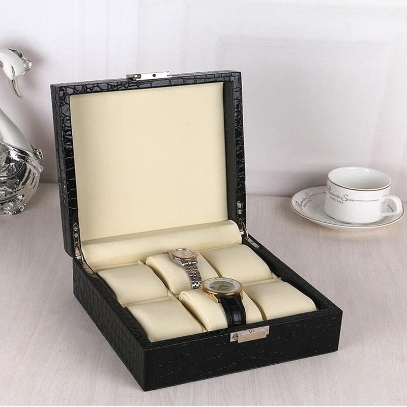 Haute qualité marron PU boîtes de montre Case nouveaux hommes montres boîte de rangement femmes bijoux affichage boîte cadeau étui en cuir Brecelet W023