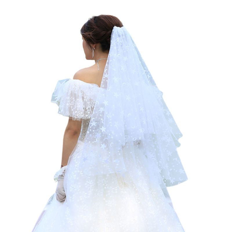 2 Tier Double Layer Women Wedding Veil Fantastic Five-Pointed Star Moon Patterns Printing Party Costume Bridal Veil With Comb