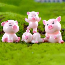 1pcs Cute Pig Family Animal Model figurine home decor miniature fairy garden decoration accessories Statue Resin Craft Figure(China)