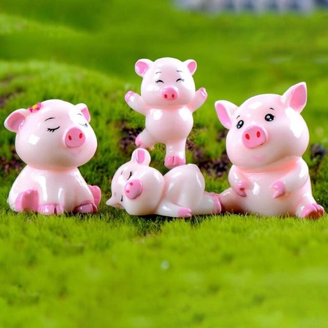 1pcs Cute Pig Family Animal Model Figurine Home Decor Miniature Fairy Garden  Decoration Accessories Statue Resin