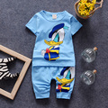 2017 Summer baby boys girls short sleeve printed cartoon mickey duck t shirt shorts suit fashion childrens casual clothes 16A12