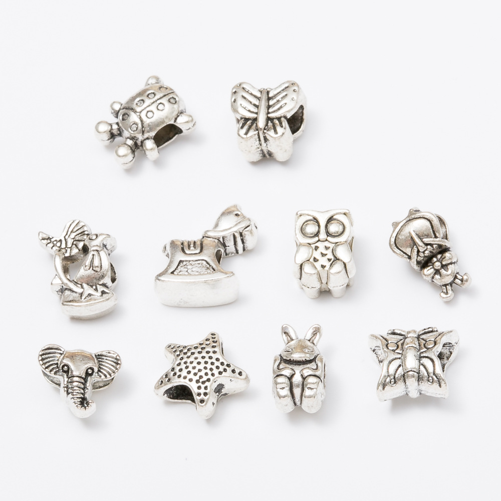 300pcs Animal Shaped Alloy Beads Horse Owl Elephant Turtle Antique Silver DIY Jewelry Making Handmade Crafts For Charm Bracelets