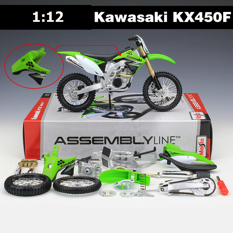 Maisto 1:12 Kawasaki Motorcycle Toy, Diecast + ABS KX450F Motor Car Kits, DIY Assembled Motorbike, Kids Toys, Juguetes Cllection