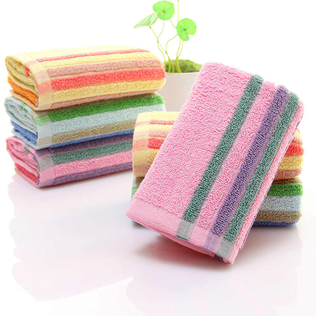 Cotton Colorful Striped Face Towels Beach Swim Bath Absorbent Quick Drying Cloth