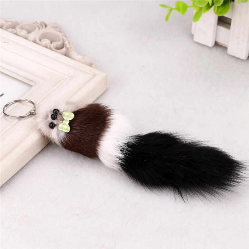 Nova Simulação de Pele De Raposa Pompom Chaveiro 17 centímetros Animal Rato Chave Cadeia Banhado A Prata Gancho do Saco Carro Pendurado Pingente Boneca