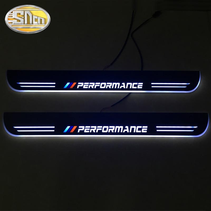 SNCN 2 pièces voiture LED seuil de porte pour BMW E63 E64 2002-2007 Ultra-mince acrylique dynamique lumières LED de bienvenue plaque de seuil pédale