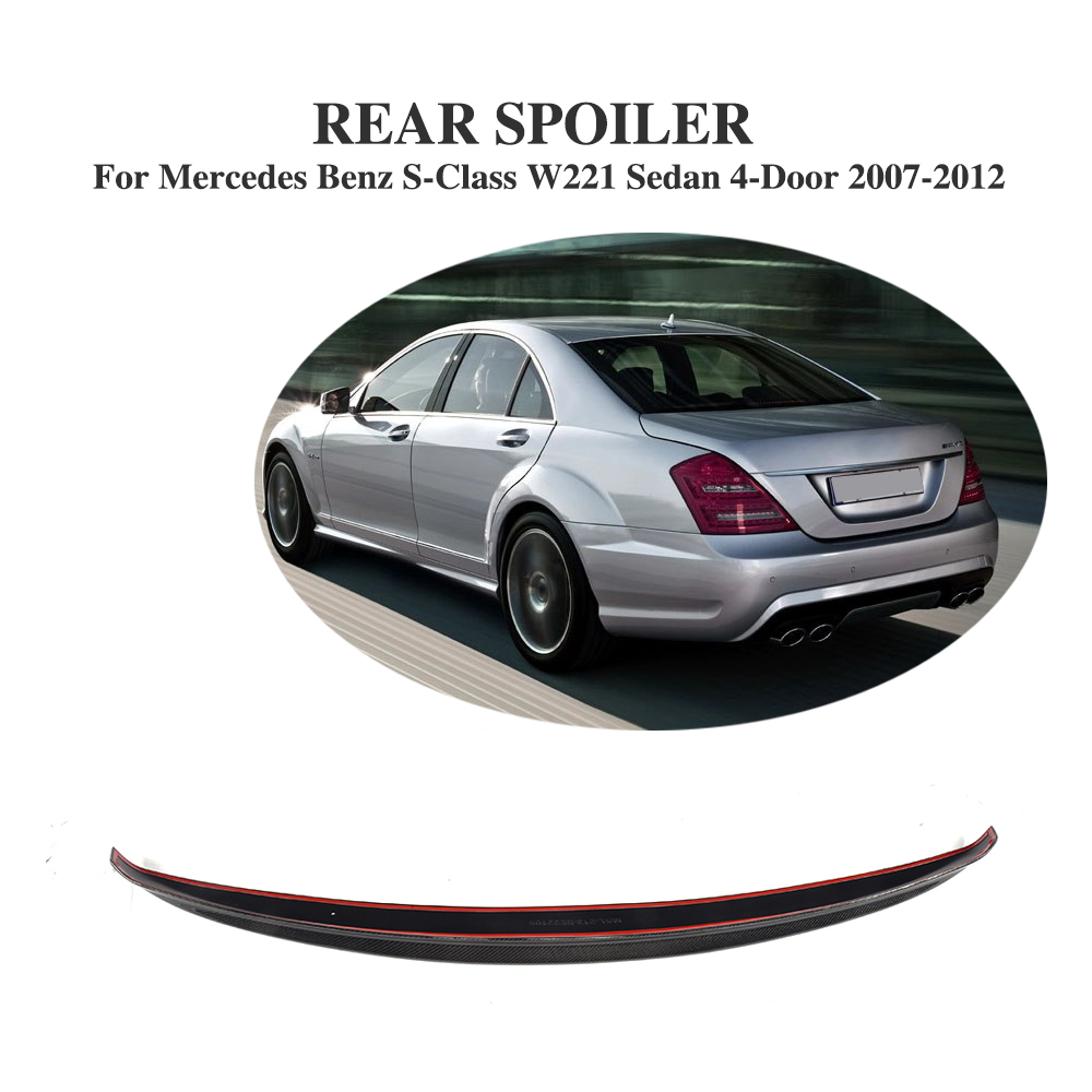 Carbon fiber Rear Boot Spoiler for Mercedes Benz S-Class W221 S350 S400 S450 S500 S550 S600 S63 AMG Sedan 4-Door 2007-2012 image