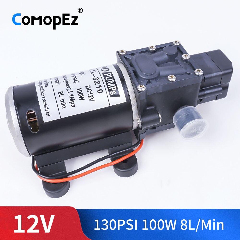 DC 12V 100W 0.9Mpa 130PSI 8L / Min Agricultural Electric Water Pump Black Miniature High Pressure Diaphragm SprayerDC 12V 100W 0.9Mpa 130PSI 8L / Min Agricultural Electric Water Pump Black Miniature High Pressure Diaphragm Sprayer