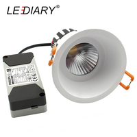 LEDIARY 75mm Cut Hole Aluminum Replaceable Light Source COB Downlight Round Ceiling Lamp Isolated CE Power 220V 6W/10W/15W