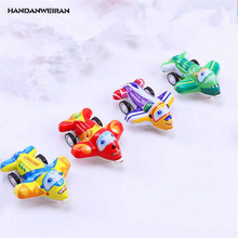 HANDANWEIRAN 4Pcs/Lots Mini Plastic Clockwork Toys Pull Back Simulation Plane Cartoon Wind Up Toy Kids Educational