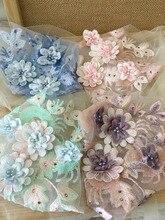 2pcs/lot Pastel 3D Pearl Beaded Flower Bridal Lace Applique , Embellishment Patch Motif for Dance Costumes 21x 34 cm