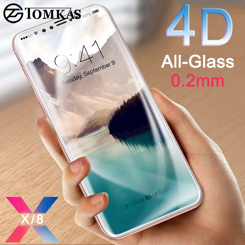 Tomkas 0.2mm Tempered Glass For iPhone X 8 10 Screen Protector Full Cover Screen Protector For iPhone X 10 8 Plus Glass