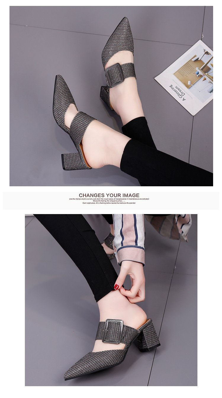 2019spring New Thick with Muller Shoes Women's High Heels Pointed Belt Buckle Back Air Slippers Elegant Temperament Baotou 11