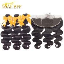 עלי BFF שיער טבעי גוף גל חבילות עם פרונטאלית 3 חבילות ברזילאי שיער חבילות עם פרונטאלית 13x4 PrePlucked 100% רמי שיער