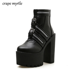 Platform shoes Fashion Thick Heel Ankle Boots for Women High Heels Autumn Winter Woman Shoes punk boots platform shoes YMA472 punk shoes big shoes special custom shoes black suede thick high lacing shoes custom 1381 2 platform