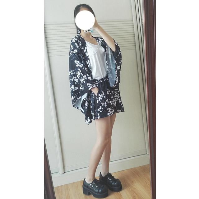 dac02adfa9c25 Sakura Cool Women's Japanese Summer Kimono Yukata Trench & Shorts & Waist  Belt Girl's Fashion Set Suit Lolita Color Black