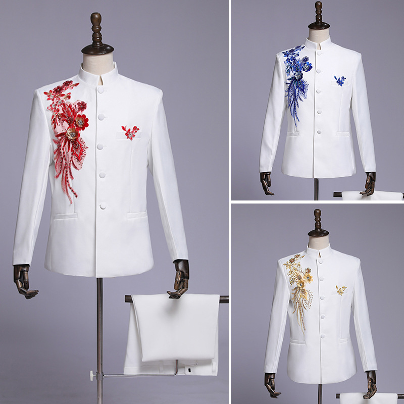 2019 Men's Choir Performance Costume Single-breasted Suit Flower Suit Singer Hosting Stage Ceremony Suit Set