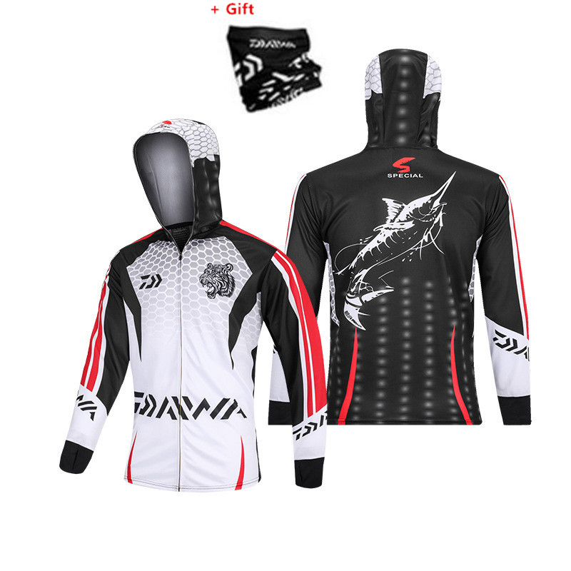Summer Cool Fishing Clothing Long Sleeve Ice Cold Feel Hooded Shirt Daiwa Outdoor Quick Dry Sun