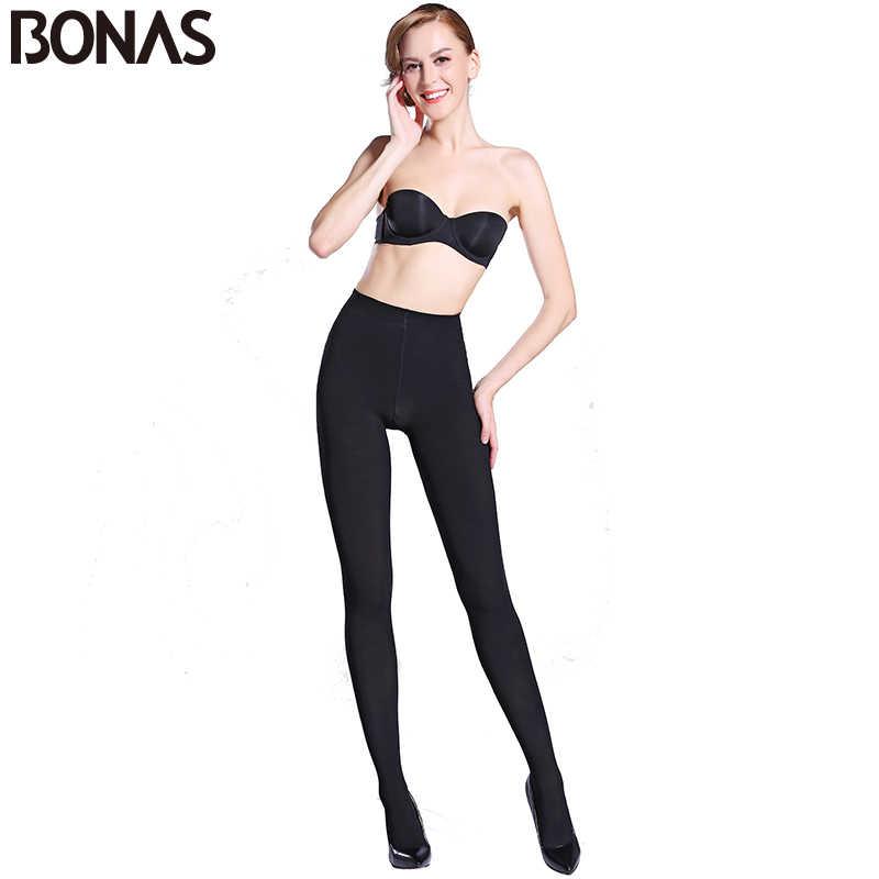 BONAS 80D 여성 스프링 스타킹 고탄력 가을 팬티 스타킹 여성 슬림 매끄러운 여성 컬러 스타킹 Collant Femme Anti Hook