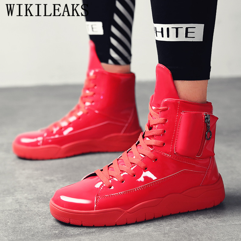 Plein blanc Air Danse Chaussures Sneakers Hop Marque Formateurs Noir Hommes Luxe rouge ball En Hip Basket De Pour Blanc Haut Verni Rue Cuir Haute ASf7pqwg