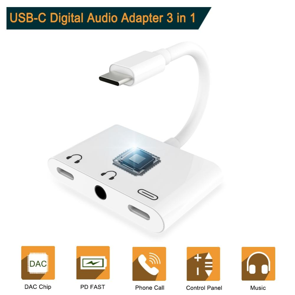 USB Type C To 3.5mm Earphone Jack Adapter For Xiaomi 6 8 For IPad Pro Aux Audio Cable Headphone Charger Charging USB-C Converter