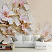Custom Photo Wallpaper 3d Living Room TV Sofa Rich Three Dimensional Relief Magnolia Bloom Large Mural