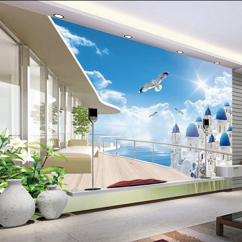 Mediterania seaside landscape puri balkon foto wallpaper ruang tv sofa latar belakang wall decor papel de parede 3d sala di wallpaper dari perbaikan rumah