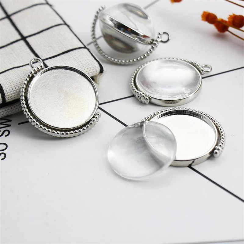 5pcs 25mm Inner Size Rotation Double Side Silver and Gold color Cameo Cabochon Base Setting Charms Diy Jewelry Findings