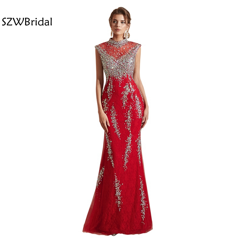 New Arrival Red Lace   Evening     dress   2019 Cap sleeve Beaded Crystals abendkleider Mermaid   evening     dresses   Long   evening   gown