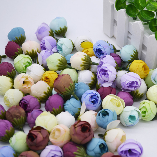 10pcslot 2cm Small Artificial Tea Rose Bud Silk Flower Head For