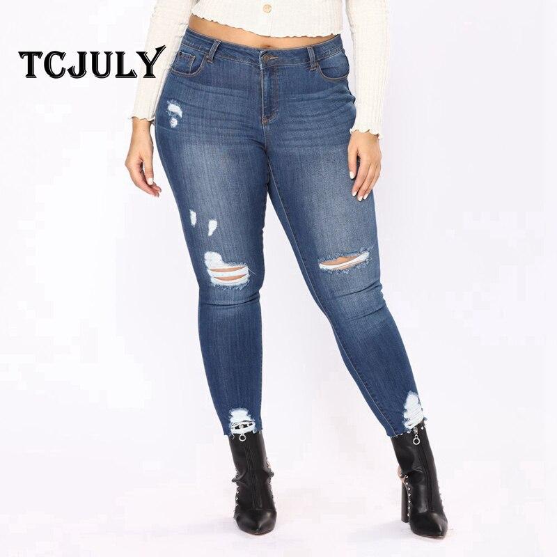 2edbf5cbe8 TCJULY América moda mamá angustiada Jeans Push Up vaqueros de mujer tallas  grandes 6XL 7XL algodón estirada Casual Denim pantalones