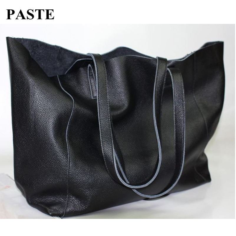New fashion brief fashionable casual black shoulder bag women big bag real skin