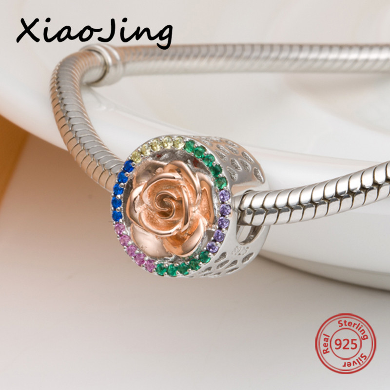 Silver 925 Original romantic rose love Beads with CZ stone Fit Authentic pandora charms Bracelet diy Jewelry making women Gifts