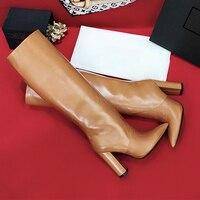 Новые Элитный бренд с острым носком Сапоги выше колена пикантные сапоги на шпильке на необычном каблуке сапоги женские длинные сапоги женс