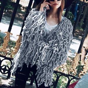 Image 2 - Manteau en fausse fourrure tricoté chaud pour femme, manteau en fausse fourrure, chaud, pull noir doux, manteau femme automne hiver