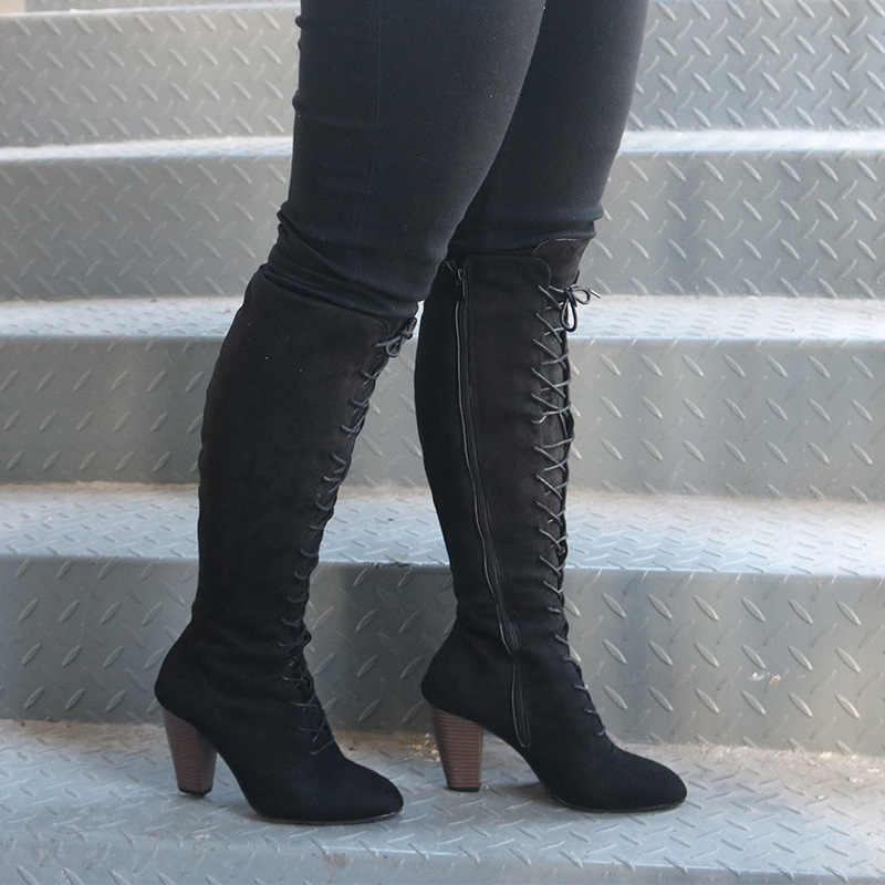 c5711c21524 ... Sexy Lace Up Over Knee Boots Women Rome Style Boots High Heel Boots  Women Winter Thigh ...