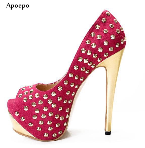 New 2018 Newest Woman High Heel Shoes Sexy Peep Toe Rivets Studded Platform Pumps Fashion Slip-on Dress Shoes Gold heels shoe lin king fashion slip on women pumps platform high heels shoes lady peep toe square heel dress shoes sexy wedding bridal shoes