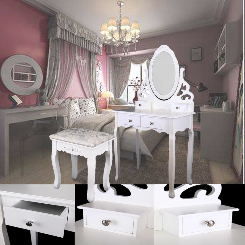Home White Dressing Table Oval Mirror With Stool Set (4 Drawer) Bedroom Makeup Desk