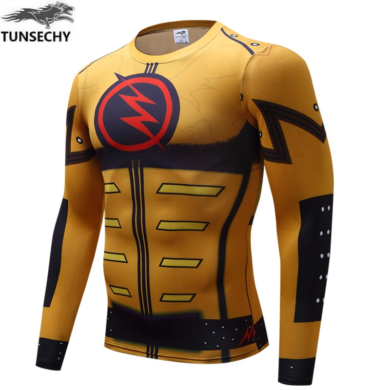 TUNSECHY Digital printing 3D Men Long Sleeve T-shirt Captain America Civil War Tee iron man Male T-shirt Wholesale and retail