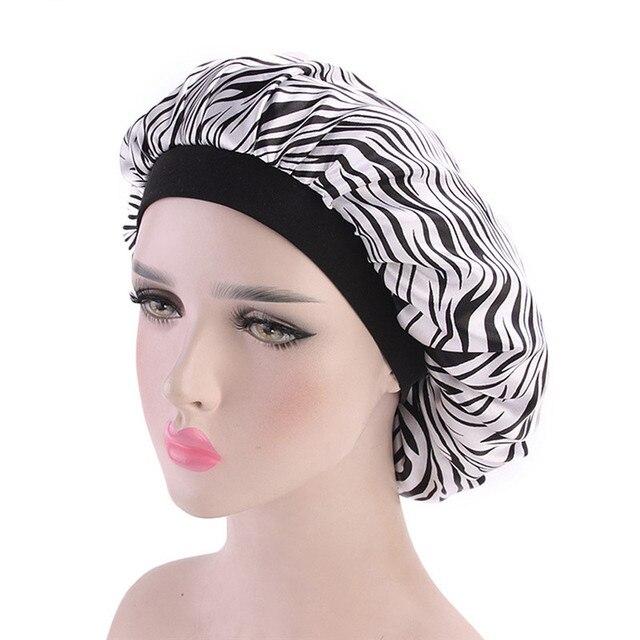 MUQGEW Yumuşak Ipek Saç Kaput Zebra Baskılı Unisex Saten Kap Bonnet Saç Bakımı Kapaklar Saten Femme Bayan Kap Şapka banyo