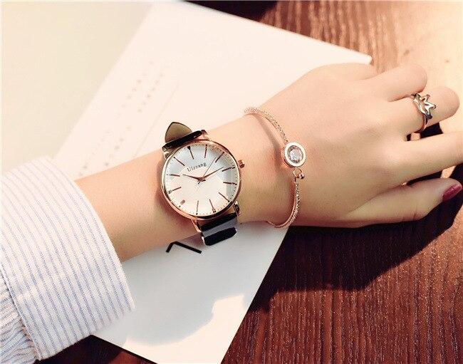 Ulzzang Women Watches Luxury Leather Casual Fashion Brand 2017 Dress Quartz Wristwatches Women Ladies Watch 1
