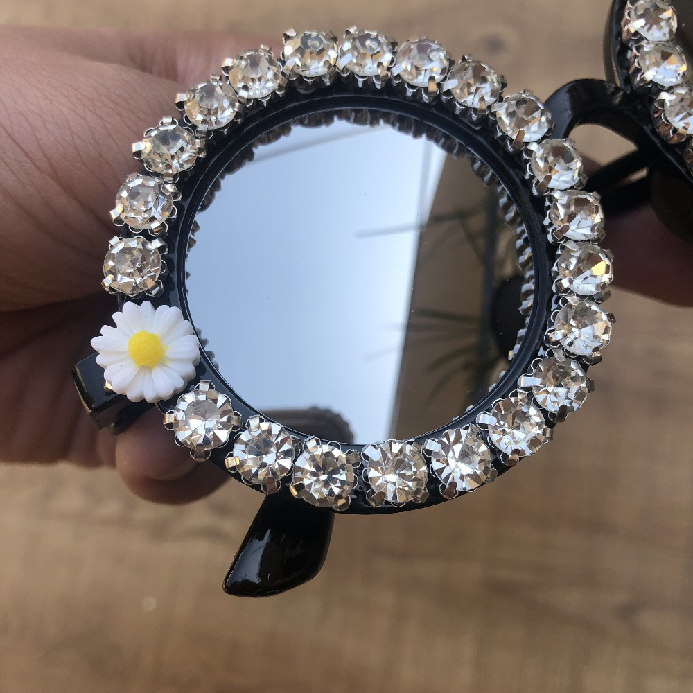 2019 M16 Gorgeous Women Sunglasses Crystal Diamond Handmade Round Eyewear UV400 Mirror Lens Flower Design Summer Sun Glasses in Women 39 s Sunglasses from Apparel Accessories