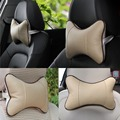 Free Shipping 2PCS Breathable Car Seat Head Neck Rest Cushion Headrest Synthetic Leather Pillow