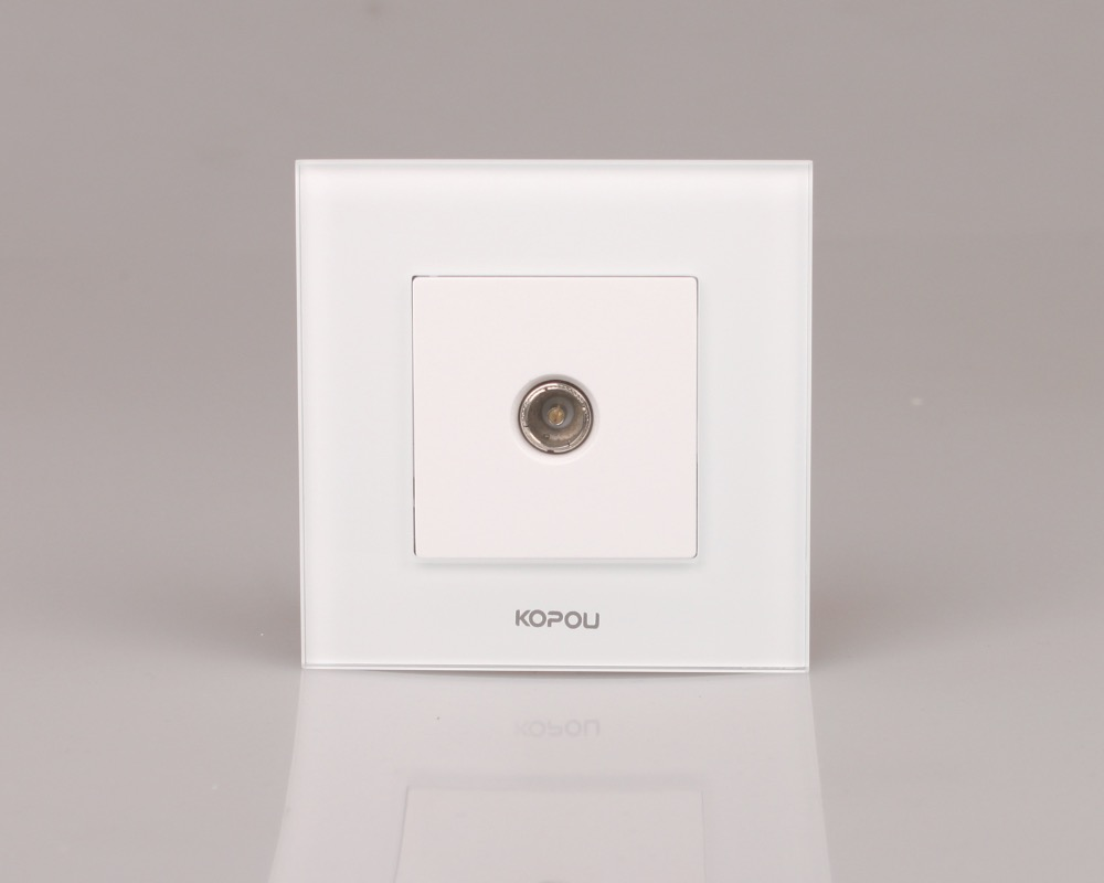 Drop Shipping supported , EU TV Socket, White Crystal Glass Panel, without Plug adapter KTV001-WDrop Shipping supported , EU TV Socket, White Crystal Glass Panel, without Plug adapter KTV001-W