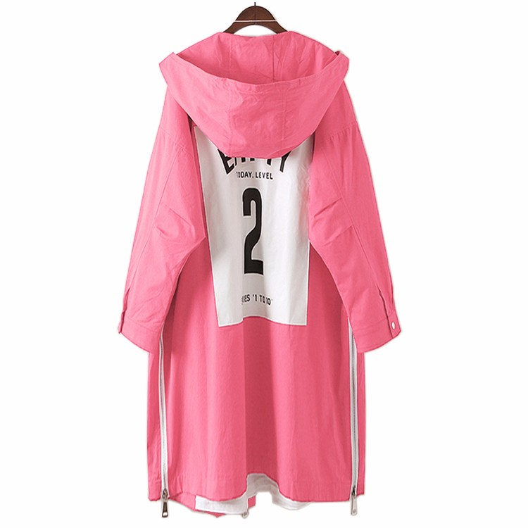 2017 Spring Woman Pink Oversized Trench Coats Girls Loose Fitting Hooded Trench Lady Casual Lined Overcoats Latter Print Outer