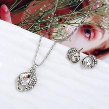 купить HOCOLE Fashion Wedding Silver Color Leaf Waterdrop Jewelry Set Women Crystal Rhinestone Earring Necklace Pendant New Hot Sale недорого