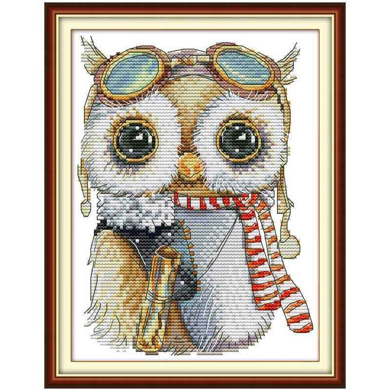 Cute owl cartoon Christmas counted 11CT 14CT Cross Stitch Set DIY DMC Chinese Cross-stitch Kit Embroidery Needlework Home Decor