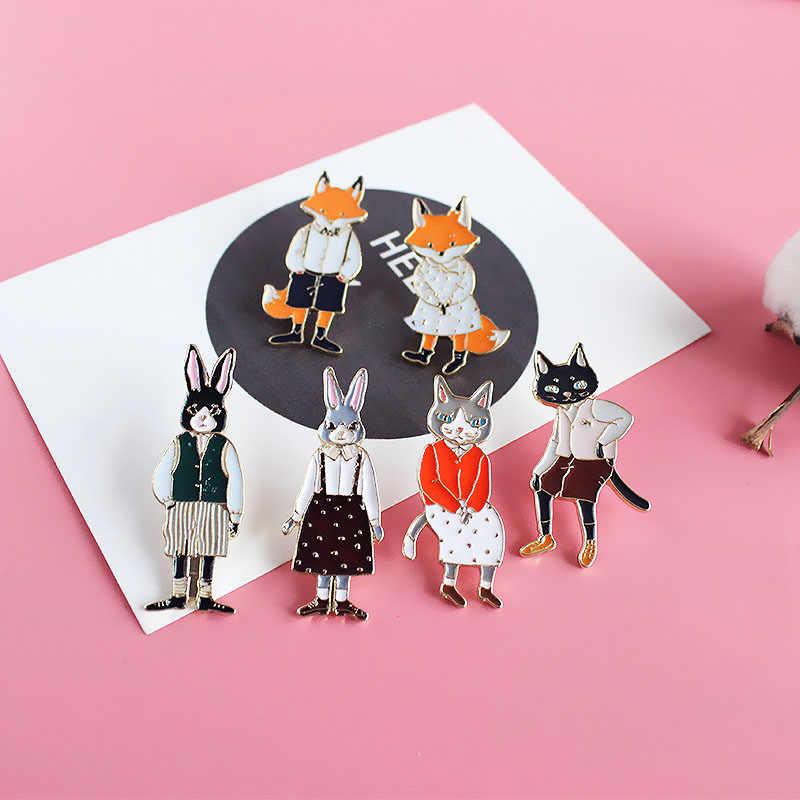 Lnrrabc Kartun Bros Indah Hewan Serigala Unik Anggun Indah Paduan Kelinci Unisex Kucing Bros Pin Perhiasan Wanita Fashion
