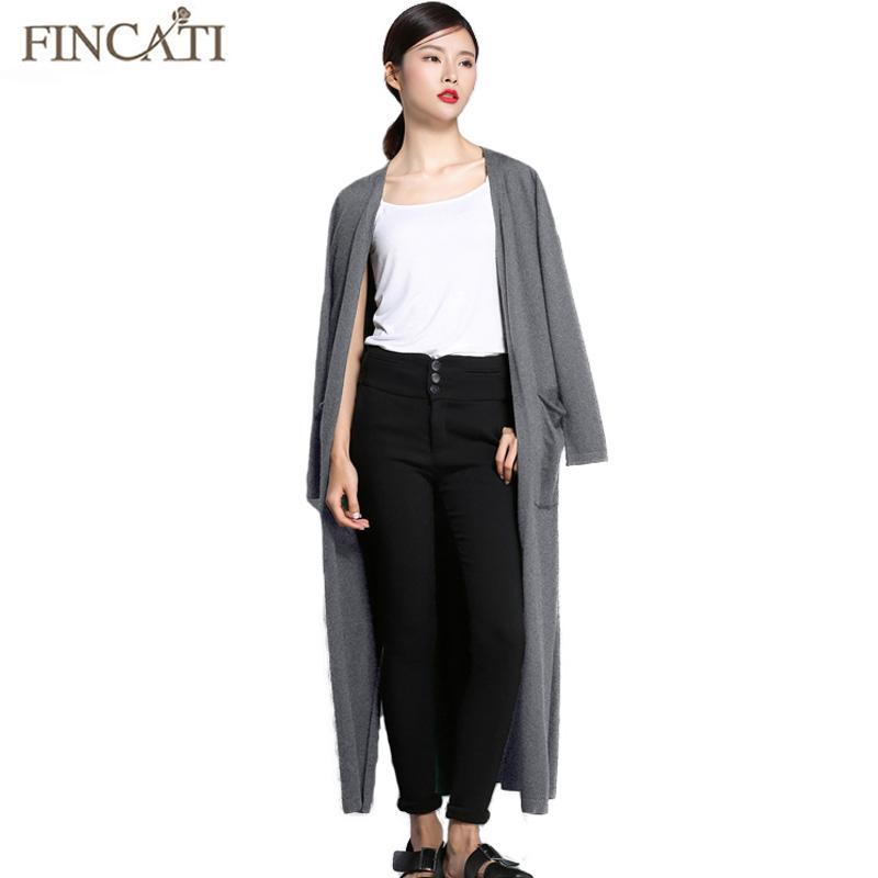 Women Spring Long Sweater Cardigans Fincati 2018 Wool New Arrival Solid Colors Long Sleeve Slit Hem Open Stitch